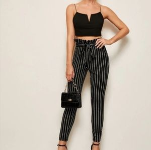 NWT Houndstooth Belted Striped Pants